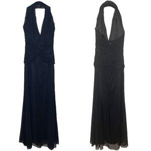 Tadashi Shoji ❤︎ Glamorous Mesh Tulle Halter Draped Gown Dress ❤︎ Black Size XS